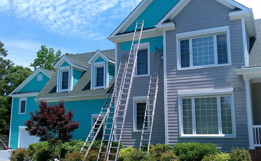 Exterior painting of a house