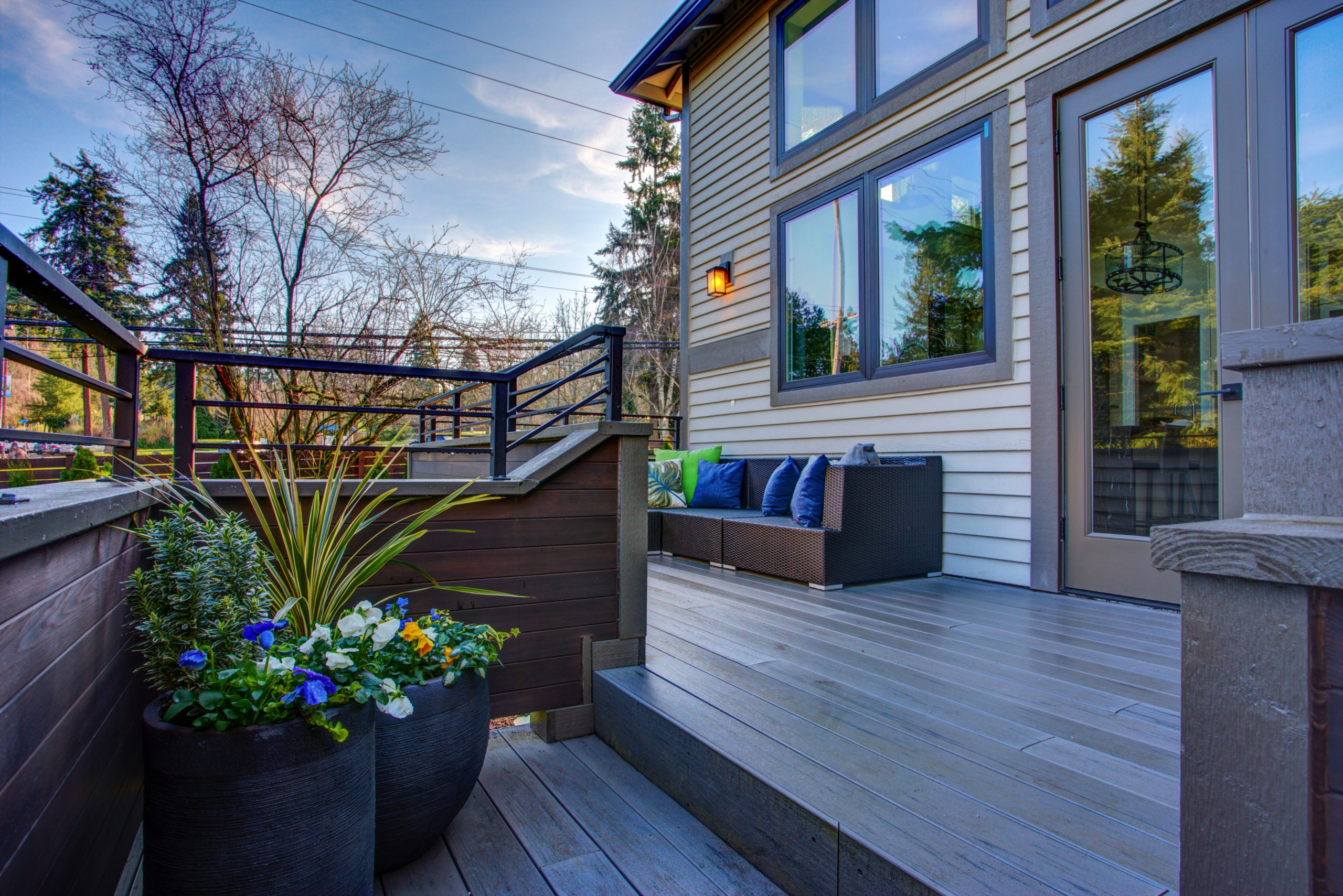a grey deck complements this house